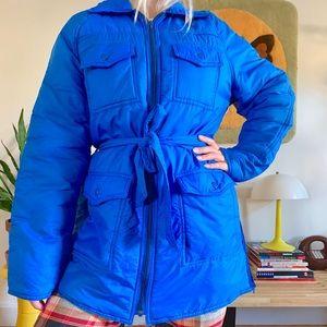 Vintage 70s cobalt blue puffer jacket winter coat